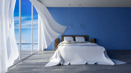 hotel balcony: 3ds rendered image of bed in seaside room which have blue color cracked concrete wall  in day time, White fabric curtains being blown by wind from the sea Stock Photo
