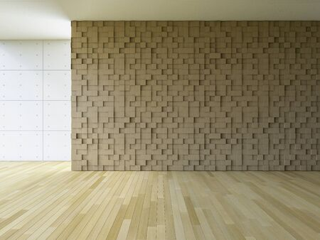 3ds: 3ds rendered image of blank living room which have wooden cubic pattern as wall, wooden floor and cracked concrete decorative wall