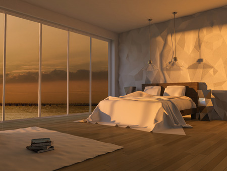 sea view: 3ds rendered image of bed in seaside room which have cracked concrete wall, low polygon decorative wall,Sunset or sunrise time Stock Photo