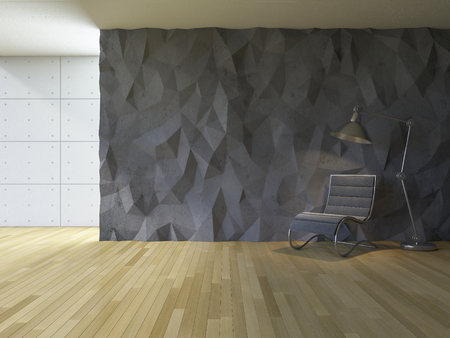 low floor: 3ds rendered image of loft style room, crackerd concrete wall,wooden floor, lamp & chair,low polygon decorative wall