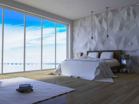 3ds rendered image of bed in seaside room which have cracked concrete wall, low polygon decorative wall Stock fotó