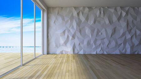 low floor: 3ds rendered image of loft style room, crackerd concrete wall,wooden floor, low polygon decorative wall Stock Photo