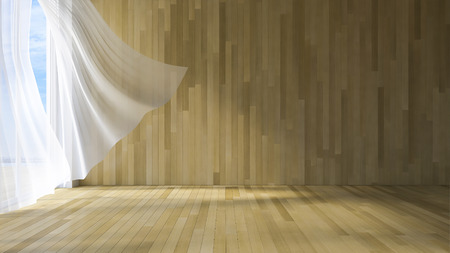 3ds: 3ds rendered image of seaside room , White fabric curtains being blown by wind from the sea, wooden wall and floor