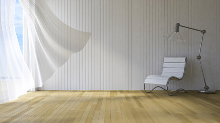wind blown: 3ds rendered image of seaside room , White fabric curtains being blown by wind from the sea, wooden wall and floor, Chair and lamp Stock Photo