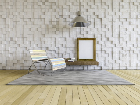 cracked concrete frame: 3ds rendered image of living room which have cracked concrete cubic pattern as wall, wooden floor, Blank photo frame and book on shelf