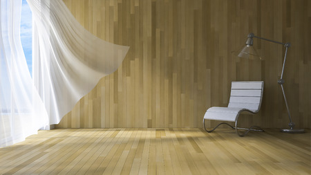 3ds rendered image of seaside room , White fabric curtains being blown by wind from the sea, wooden wall and floor ,chair and lamp Stock Photo