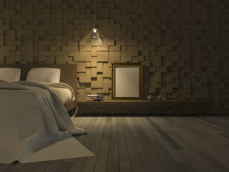3ds: 3ds rendered image of bedroom which have wooden cubic pattern as wall, wooden floor, Blank photo frame and book on shelf,night view perspective