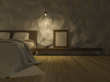 low floor: 3ds rendered image of loft style bedroom, cracked concrete wall,wooden floor, low polygon decorative wall,blank photo frame and books on shelf,night view perspective Stock Photo