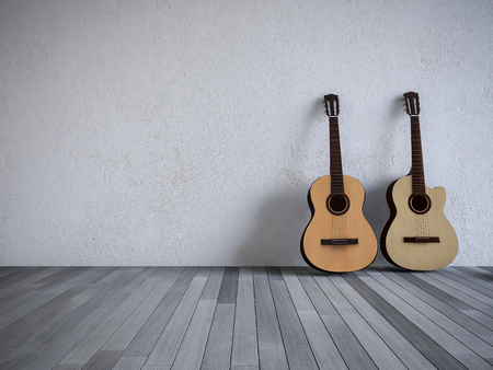white wood floor: 3Ds rendered guitars in the room, Old wood floor, Cracked white concrete wall Stock Photo
