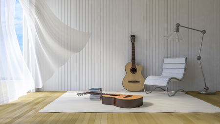 white wood floor: 3Ds rendered guitars in the room, Old wood floor,Guitar, Chair, lamp and books lay on white carpet, White fabric curtains being blown by wind, sunlight from window and shadow on the floor