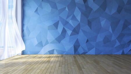 low floor: 3ds rendered image of loft style room, blue color low polygon crackerd concrete wall, White fabric curtains being blown by wind, sunlight from window and shadow on the wooden floor
