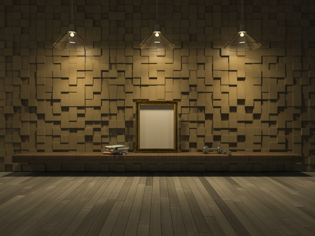 3ds: 3ds rendered image of living room which have wooden cubic pattern as wall, wooden floor, Blank photo frame and book on shelf,Night view perspective