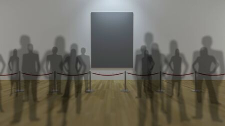 stanchion: 3Ds render image, depth of field technic. photo frame display and red rope barrier in the musium, wooden floor and white wall,People crowded