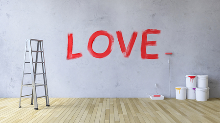 3ds: 3Ds image of word  Love  on the concrete wall which have painted by red color, color can and painting tool on the wooden flor,background for valentine day