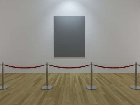 stanchion: 3Ds render image of photo frame display and red rope barrier in the musium, wooden floor and white wall,People crowded