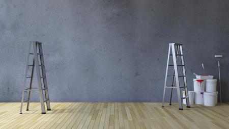 3 ds 表示空白ひびの入ったコンクリートの壁と木製の床、はしごとペイント ツールと階色缶のイメージ