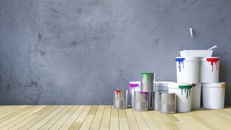 Image D Un Mur Blanc Béton Fissuré Et Plancher En Bois Couleur Argent Boîte Et Outils De Peinture 3ds Rendus Sur Le Plancher