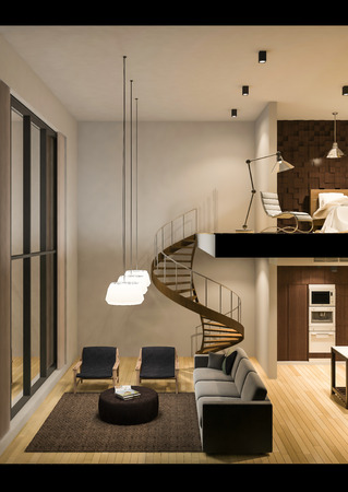 apartment living: 3Ds rendered image of double space apartment in living box,White fabric curtains being blown by wind, perspective view in night time