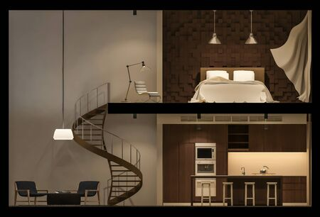 elevation: 3Ds rendered image of double space apartment in living box,White fabric curtains being blown by wind, elevation view in night time Stock Photo
