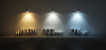 color scale: 3Ds rendered image of 3 hanging lamps which use different bulbs. Color temperature scale. Cool white,warm white, day light. 3 colors of light on the cracked concrete wall and wooden floor