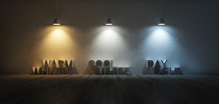 3ds rindió imagen de lámparas colgantes 3 que utilizan diferentes bombillas. escala de temperatura de color. blanco frío, blanco cálido, la luz del día. 3 colores de luz en la pared de hormigón agrietado y piso de madera Foto de archivo