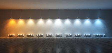 3Ds Bild von 10 Hängelampen, die unterschiedliche Glühbirnen verwenden gemacht. Farbtemperaturskala. Spektrum Farbe auf dem rissigen Betonwand und Holzboden