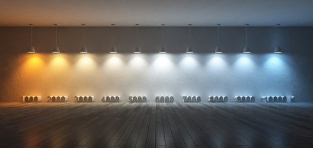 3Ds rendered image of 10 hanging lamps which use different bulbs. Color temperature scale. spectrum color on the cracked concrete wall and wooden floor Archivio Fotografico