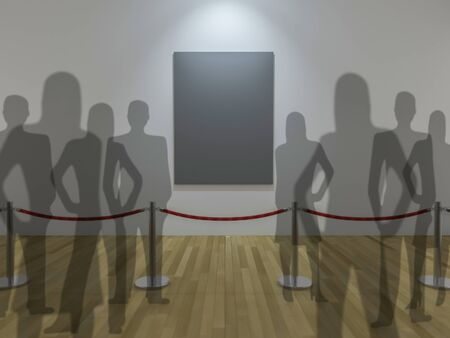 priceless: 3Ds render image, depth of field technic. photo frame display and red rope barrier in the musium, wooden floor and white wall,People crowded