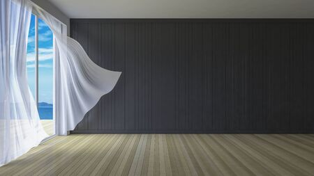blown: 3ds rendered image of simple style room,  White fabric curtains being blown by wind from sea, sunlight from window and shadow on the floor, Stock Photo