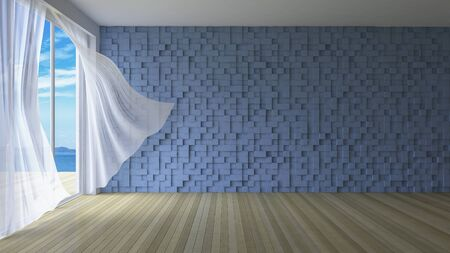low floor: 3ds rendered image of simple style room,  White fabric curtains being blown by wind from sea, sunlight from window and shadow on the floor, blue cubic pattern decorated wall