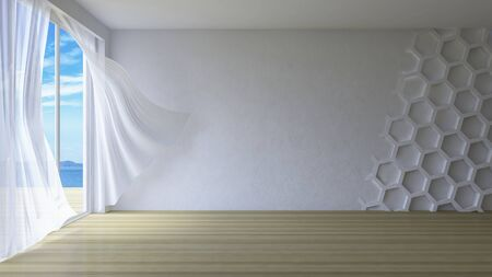 blown: 3ds rendered image of simple style room,  White fabric curtains being blown by wind from sea, sunlight from window and shadow on the floor, Hexagon pattern decorated on crack conconcrete wall