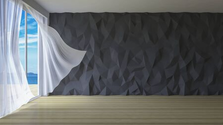 low floor: 3ds rendered image of simple style room,  White fabric curtains being blown by wind from sea, sunlight from window and shadow on the floor, low polygon decorative wall