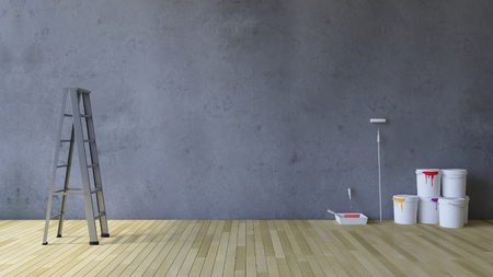 wall paint: 3Ds rendered image of a blank cracked concrete wall and wooden floor, Ladder and painting tools and color cans on the floor