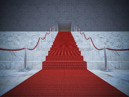 famosos: 3ds prestados imagen de la alfombra roja en la escalera de mármol Foto de archivo