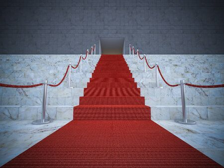 celebrities: 3ds rendered image of the red carpet on marble stair