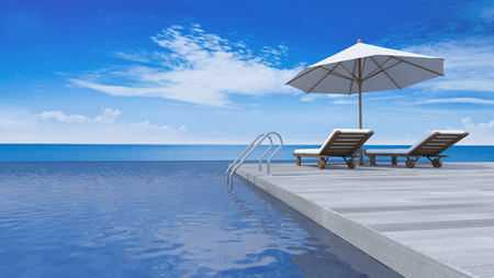 daybed: 3D rendering image of daybed and umbrella on wooden terrace, sea view, infinity swimming pool
