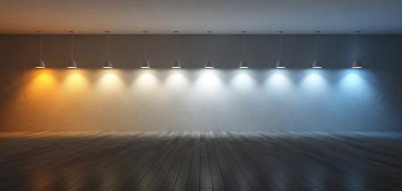 3D renderuing Bild von 10 Hängelampen, die unterschiedliche Glühbirnen verwenden. Farbtemperaturskala. Spektrum Farbe auf dem rissigen Betonwand und Holzboden