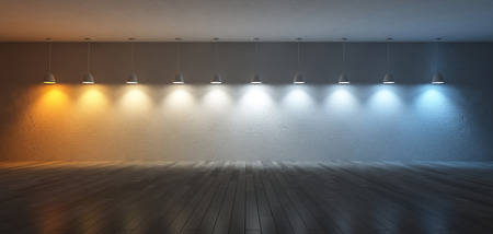 3D renderuing image of 10 hanging lamps which use different bulbs. Color temperature scale. spectrum color on the cracked concrete wall and wooden floor