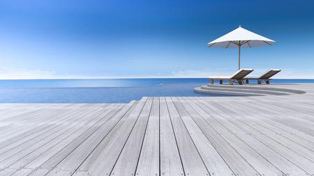 寝台兼用の長椅子と曲線の木製テラス、ステップ床、海の景色、インフィニティ ・ スイミング プールで傘の 3 D レンダリング イメージ