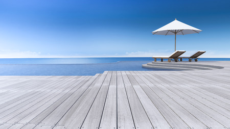 sea view: 3D rendering image of daybed and umbrella on curve wooden terrace, step floor, sea view, infinity swimming pool