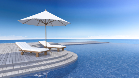 daybed: 3D rendering image of daybed and umbrella on curve wooden terrace, step floor, sea view, infinity swimming pool