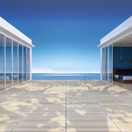 grasses: 3d rendering image of seaside house which have big tree on wooden terrace , infinity swimming pool, leaves shadow on floor Stock Photo