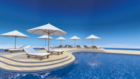 sharpness: 3D rendering image of daybed and umbrella on curve wooden terrace, step floor, sea view, infinity swimming pool,depth of field picture