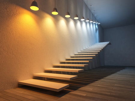 3D-Rendering-Bild von 10 Hängelampen, die verschiedene Glühbirnen über th Schritt verwenden. Farbtemperaturskala. Spektrum Farbe auf dem rissigen Betonwand und Holzboden
