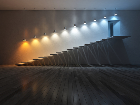 kelvin: 3D rendering image of 10 hanging lamps which use different bulbs over th step. Color temperature scale. spectrum color on the cracked concrete wall and wooden floor