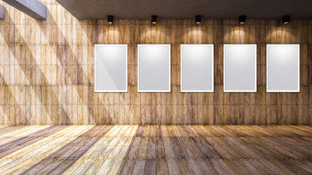 downlight: 3d rendering image of of wooden wall and floor, Blank photo frame on the wall