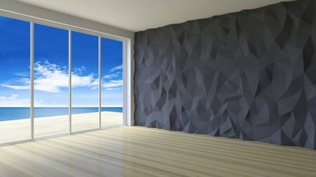 low floor: 3d rendering image of  simple style seaside room,  sunlight from window and shadow on the floor, low polygon decorative wall