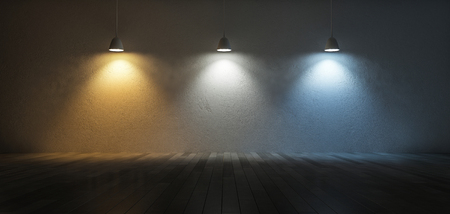 3D rendering image of 3 hanging lamps which use different bulbs. Color temperature scale. Cool white,warm white, day light. 3 colors of light on the cracked concrete wall and wooden floor