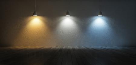 3D-Rendering-Bild von 3 Hängelampen, die unterschiedliche Glühbirnen verwenden. Farbtemperaturskala. Kühles Weiß, warmes Weiß, Tageslicht. 3 Farben des Lichts auf dem rissigen Betonwand und Holzboden