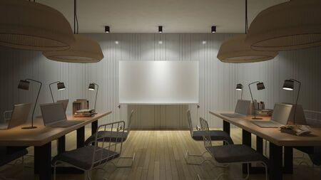 light classroom: 3d rendering image of working room which have a blank white board for fill your words,night view perspective Stock Photo